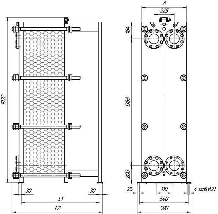 Теплообменник пластинчатый разборный Анвитэк АMХ-120-261