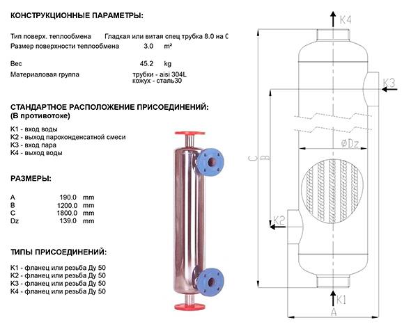 Габаритные размеры кожухотрубного теплообменника Анвитэк АН130-1,5