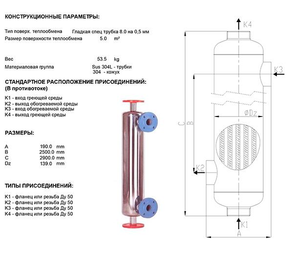 Габаритные размеры кожухотрубного теплообменника Анвитэк АН130-2,5